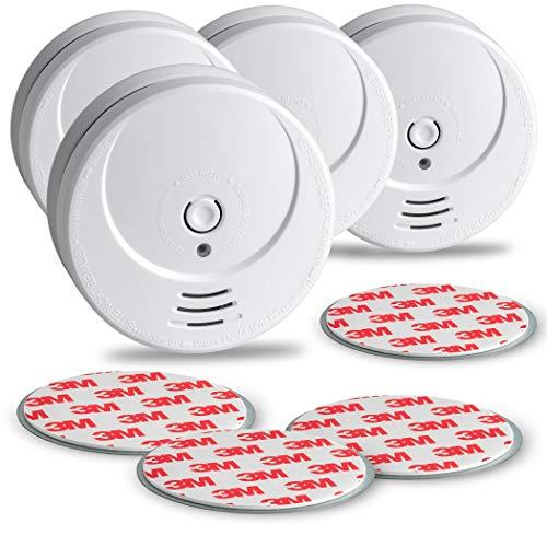 SEBSON 10 Jahres Rauchwarnmelder inkl. Magnethalterung - 4er Set - DIN EN 14604 Zertifiziert, fotoelektrischer Rauchmelder, Lithium Langzeit Batterie