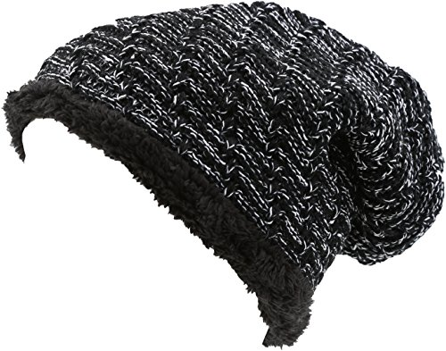 Sakkas 16142 - Veloce Tall Long Heathered Faux Fur Shearling Lined Unisex Beanie Hat - Black - OS