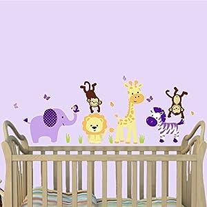 Mini Jungle Purple, Animal Wall Decals, Jungle Nursery Décor, Elephant, Giraffe