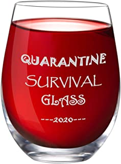 IFOLAINA Stemless Wine Glass 15 oz Novelty Crystal Cup with Sayings Quarantine Survival 2020 Funny Gifts Party Accessories for Women Man Friend