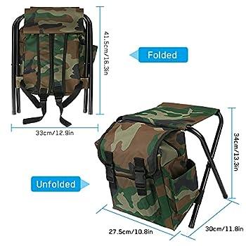 BestFire Sacs de chaise de camping Sac à dos Sacs de chaise de pêche pliants Tabourets de camping Sacs à dos de pêche pour Camping Pique-nique Chasse Pêche Randonnée Plage BBQ
