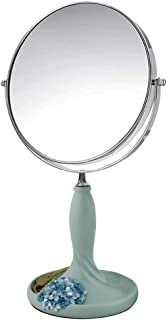 Vanity Mirror Desktop Makeup Mirror 360 Degree Free Rotation Bracket Double Sided Hydrangea Base Design Resin HD for Family (Color : Blue, Size : 8 inches)