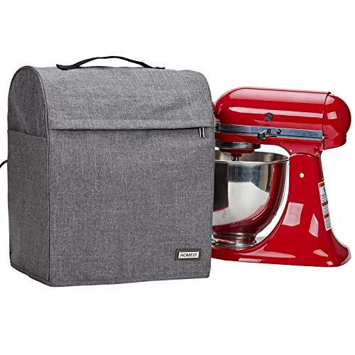 HOMEST Stand Mixer Cover Compatible with KitchenAid Tilt Head 4.5-5 Quart,Dust Cover with Zipper Pocket for Accessories, Grey (Patent Design)