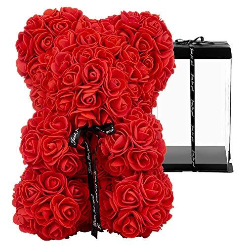 GuKKK Osito de Rosas con Caja de Regalo de Pozy, Rosa Oso, Oso de Rosas, Oso Flores, Oso de Flores Aniversario, Regalo para mamá Valentín, Cumpleaños, Aniversario-Caja de Regalo (10 Pulgadas)