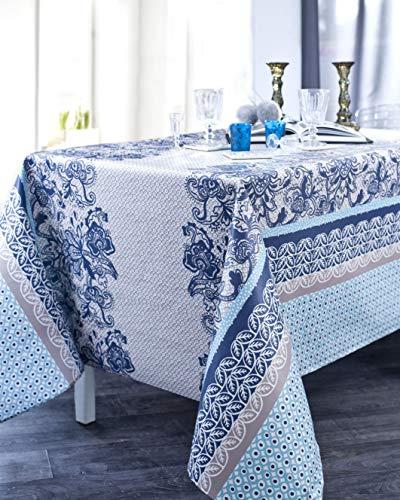 Nydel EU355BM3813 tafelkleed, Scandinavische kant, acrylcoating, vierkant, 160 x 160 cm, marineblauw
