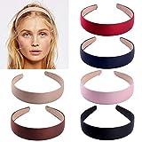 6 piezas cintas de satén Diademas y cintas para el pelo, cintas de diadema de cinta antideslizante de 1 pulgada de ancho para niña de mujer (6 colores)