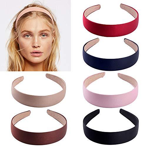 6 pièces Satin Bandeaux, 1 pouce large bandeau serre-tête Ruban Bandeaux pour les femmes fille (6 couleurs)