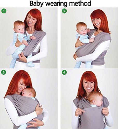 Ostenx Tragetuch Babytragetuch Bauchtrage Babytrage Baby Wrap Tragehilfe Baby Carrier Sling Babytragen Grau Babytragetücher für Männer und Frauen - 5