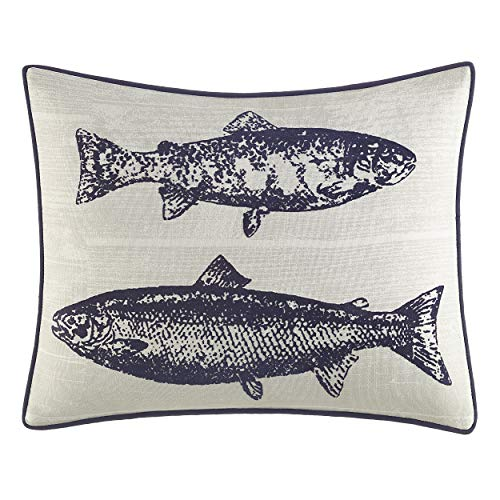 Eddie Bauer Home | Salar Collection | 100% Cotton Salmon Fish Design Decorative Throw Pillow/Sham with Corded Edge Lining, Zipper Closure, 1 Count (Pack of 1), Navy