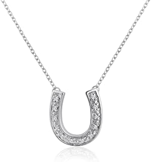 Sterling Silver and Diamond Horseshoe Necklace (1/10cttw. 16 inches)
