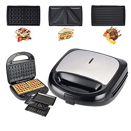 RYUNQ Sandwichera 3 en 1, tostadora, gofres, parrilla de contacto, placas antiadherentes extraíbles, asas táctiles, 750 W, sin BPA, multifunción