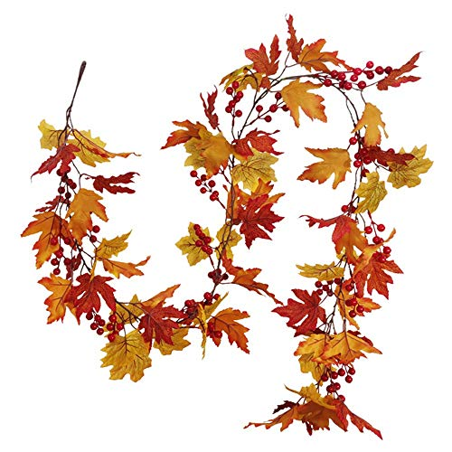 Dasing Artificial Fall Maple Leaf Vine, Wedding Backdrop Arch Wall Decor, Fake Hanging Plant Ivy for Table Festival Party Decor