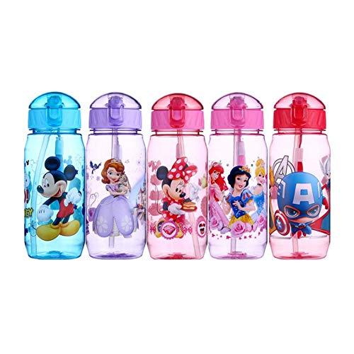 Botella de agua ecológica para niños con dibujos animados sin BPA Tritan Pajita para niños Botella de niños Hervidor de...