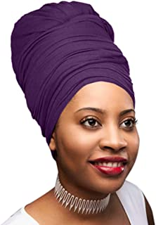 30 Colors| Novarena 1-4 Pc Solid Color Head Wrap Stretch Long Hair Scarf Turban Tie Kente African Hat Jersey Knit Headwrap (11. Purple)