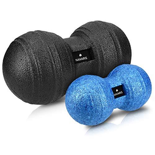 Navaris 2x Peanut Duo Massageball - in 2 Größen - Selbstmassage Duoball Faszienball Set - Trigger Point Massage Ball - Faszienbälle