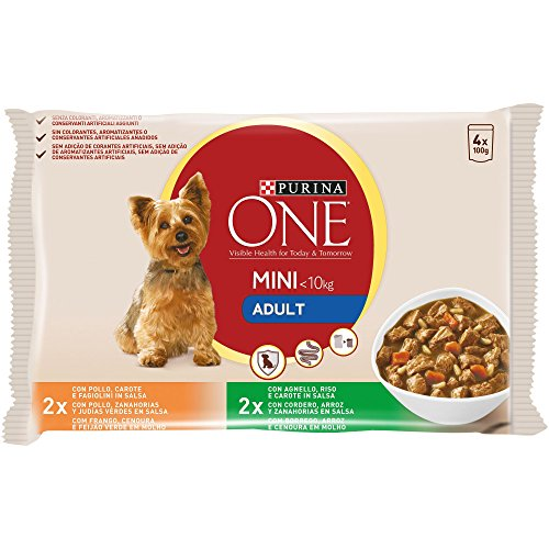 Purina ONE MINI comida para perros húmeda en Salsa Perro Adulto Pollo y Cordero 10 x [4 x 100 g]