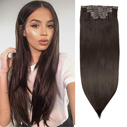 BHF Seamless Clip in Hair Extensions 24 inch Silky Straight Synthetic hair PU Clip in Extensions For Women 7pcs 150g (#2)