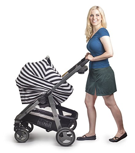 Premium Nursing Breastfeeding Cover Stretchy Fabric | Suitable for Baby Multiuse Car Seat | Black & White Striped Design