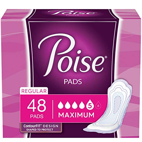 Poise Incontinence Pads, Maximum Absorbency, Regular Length, 48 Count (Pack of 4)