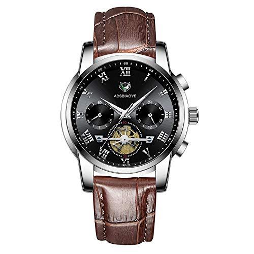 Relojes de Pulsera de Cuarzo analógicos con Fecha Impermeable de Cuero para Hombres-D
