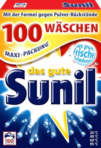 Sunil Waschmittel Vollwaschmittel aktiv Pulver für 100 Wäschen