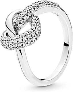PANDORA Knotted Heart 925 Sterling Silver Ring - 198086CZ