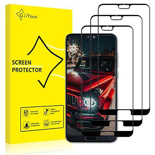 GiiYoon Verre Trempé Huawei P20 Pro Full Film Protection Ecran [Couverture Complète] [Garantie à Vie], [3 Pièces] Ultra Claire,sans Bulles,Dureté 9H