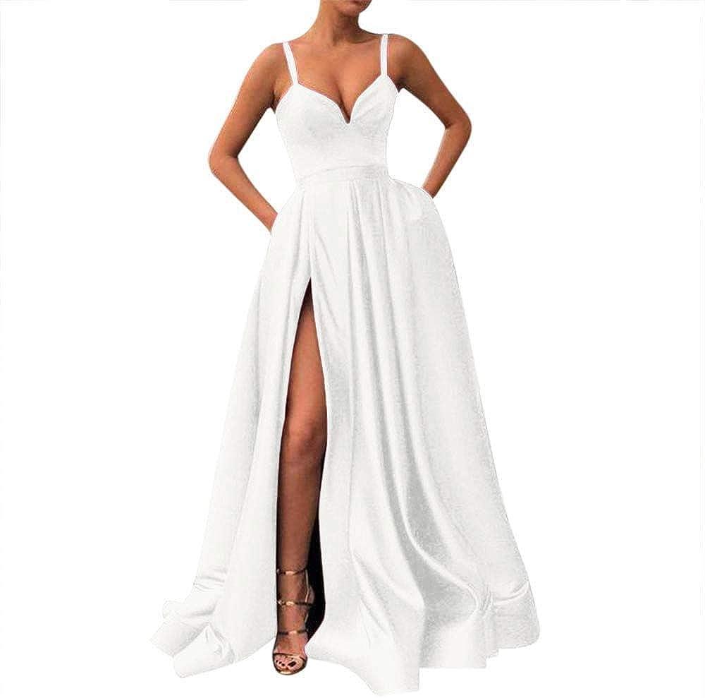 Fashionbride Women's Spaghetti 買い取り Straps Long wi 通販 激安◆ Black Prom Dresses