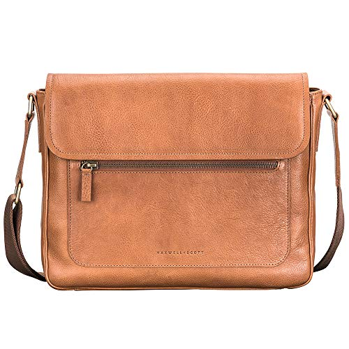 Maxwell Scott Men's Relaxed Leather Satchel Work Bag - Livorno Camel