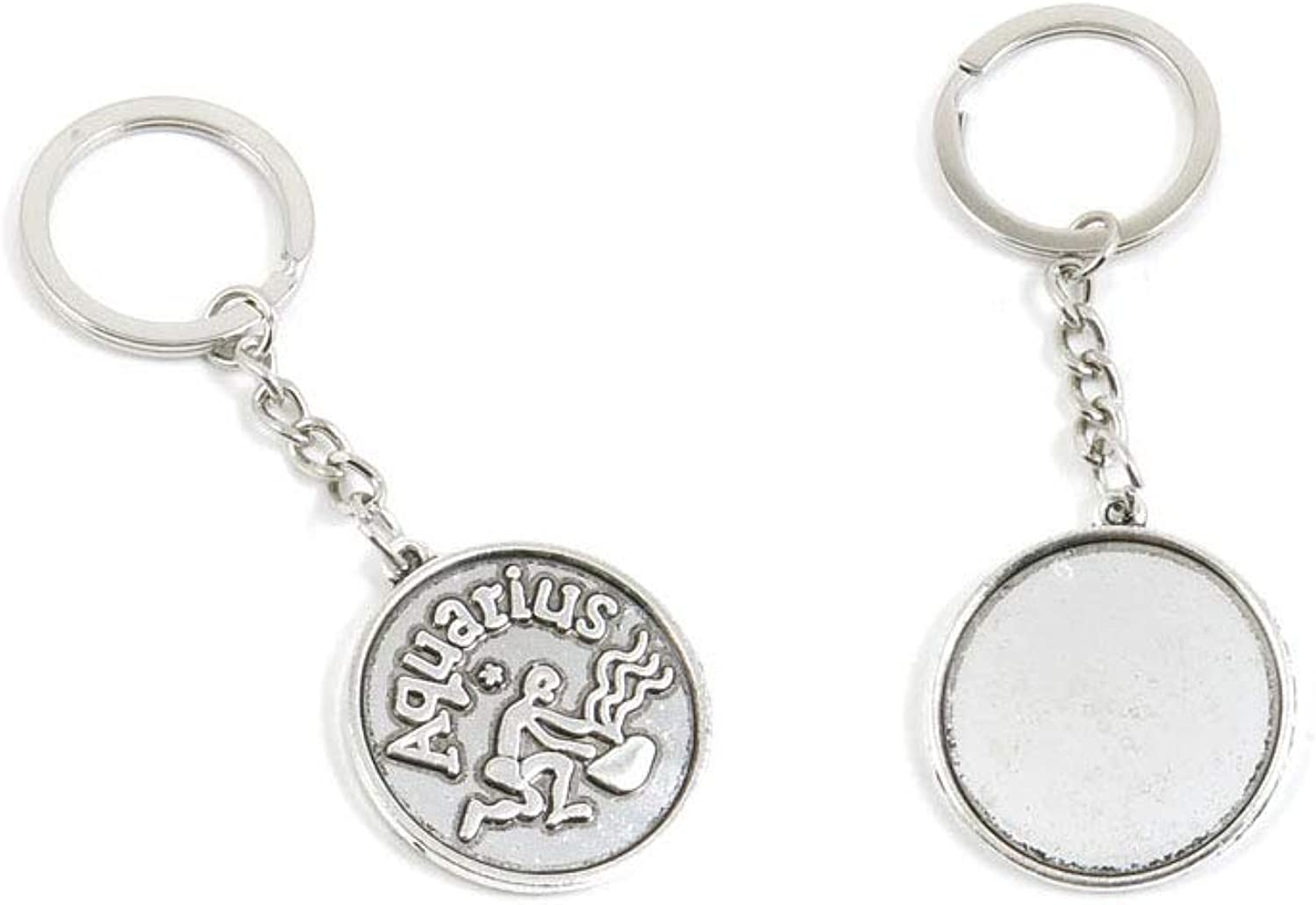 100 PCS Antique Silver Keyrings Keychains Key Ring Chains Tags Clasps O3HF8 Libra Round Cabochon Setting Blank