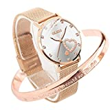 OLEVS Ladies Watches Rose Gold Stainless Steel Mesh Strap White Face Fashion Dress Japanese Quartz Waterproof Luminous Love Bracelet Sets