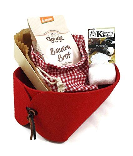 Charming Boxes Geschenkkorb Brot und Salz - Einzug, Einweihung, Richtfest - Bio-Backmischung (Rot)