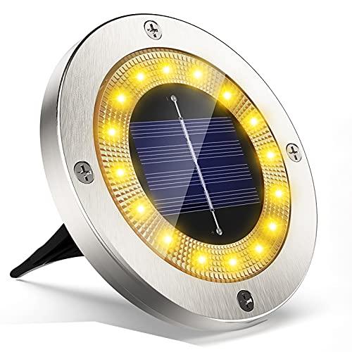 Luci Solari Esterno Giardino Faretti Led,VIRIDI 4 Pezzi 10 Led Faretto Incasso Luce Calda Energia Solare Wireless Terra Lampade Da Sicurezza 600Mah Batteria Per Vialetto Scala Paesaggio Strade Aiuola