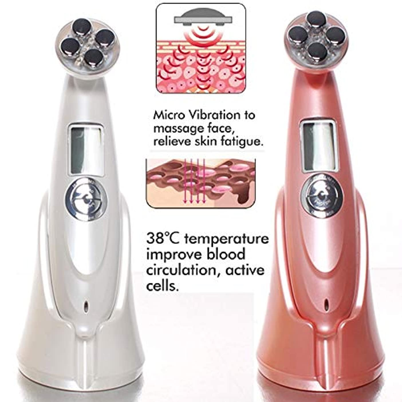 前進クリスチャン無意識LIZIB 超音波EMS美容器具LEDアップグレード版フェイシャルマッサージ器具家庭用皮膚引き締め電子美容器具 (Color : Pink, Size : 180*5*6CM)