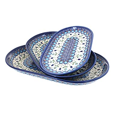 Blue Rose Polish Pottery Savannah 3 Piece Oval Server Set