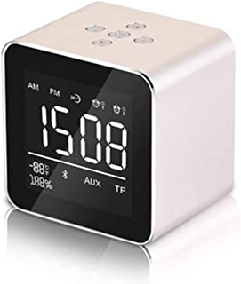 Double Alarm Clock Speaker Audio Wireless Bluetooth subwoofer Bluetooth 4.2 chip New Creative Bedside Speaker FM Radio with Speaker Phone and USB Port,Gold