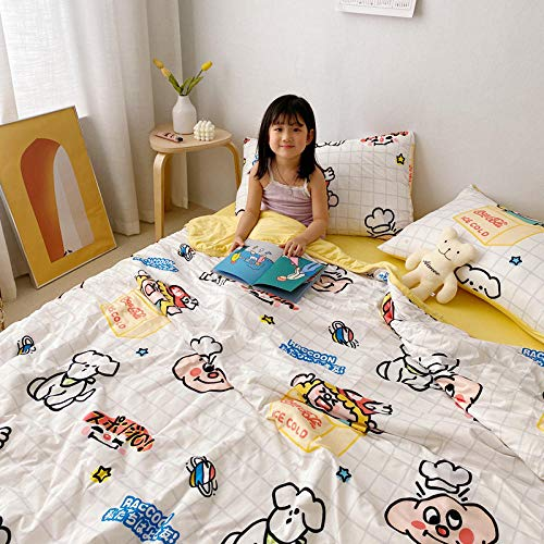 DEEP SLEEP QUILTS,1 person 2 people mite-proof duvet, printed and washable children's cartoon summer quilt, pillowcase not included-White 1_43.3x59.05inch