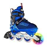 Crazy Skates Adjustable Inline Skates with Light Up Wheels - Roller Blades for Boys - Blue Large (Sizes 5-8)