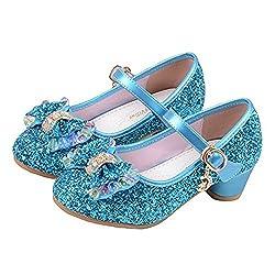 Princess Cosplay Sequin Low Heeled Blue Shoe