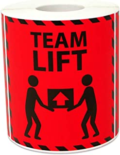 600 Labels - Team Lift Stickers for Shipping Handling Warehouse Postage Transport Heavy Warning (3 x 3 inch, Red - 2 Rolls)