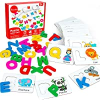 Youwo Alphabet Flash Cards Wooden Toddler ABC Learning Puzzle