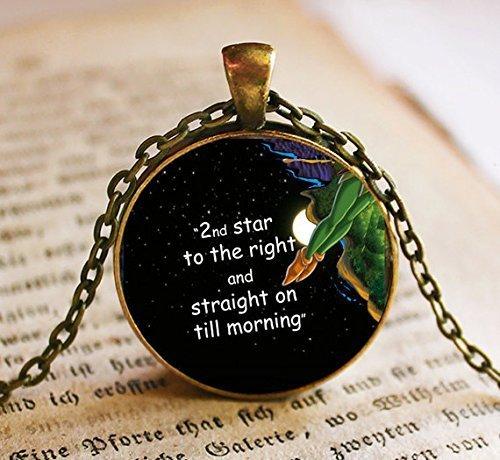 Colgante de la segunda estrella a la derecha, joyería de collar, joyería de Peter Pan, joyería de cristal, colgante de regalo