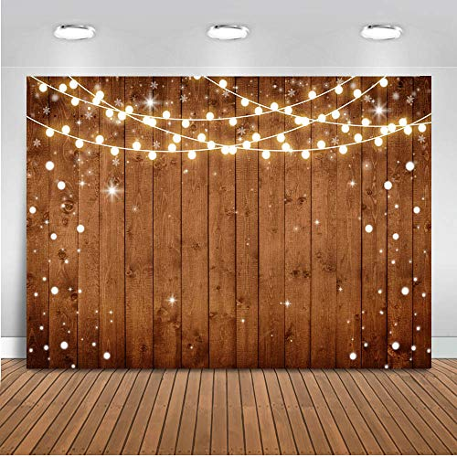 Mocsicka Wedding Decorations Backdrop 7x5ft Rustic Brown Wood Shining Bulbs Birthday Party Banner Photo Studio Props Vintage Wood Bridal Shower Photography Background