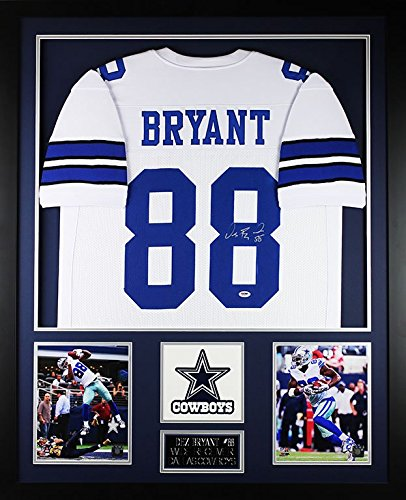 Dez Bryant Autographed White Cowboys Jersey - Beautifully Matted and Framed - Hand Signed By Dez Bryant and Certified Authentic by Auto PSA COA - Includes Certificate of Authenticity