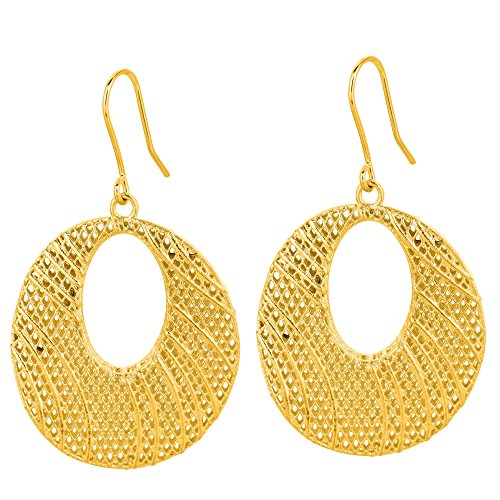 14kt oro amarillo brillante de malla como Graduado Oval gota pendientes 'Stil Novo Collecti sobre'