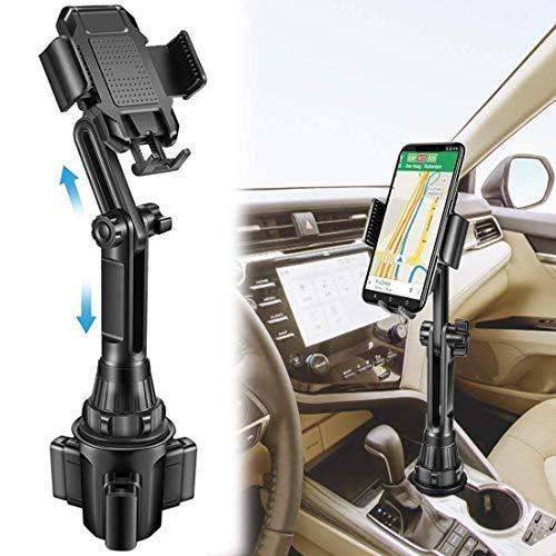 Sweethos Kfz-Halterung mit Becherhalter, verstellbare Handyhalterung, kompatibel mit iPhone 11 Pro/XR/XS Max/X/8/7 Plus/6S/Samsung S10/Note 9/S8 Plus/S7 Edge und mehr, Schwarz