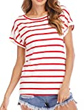 Haola Women's Striped Tops Summer Casual Round Neck Short Sleeve Blouse T-Shirt Red White Stripe S