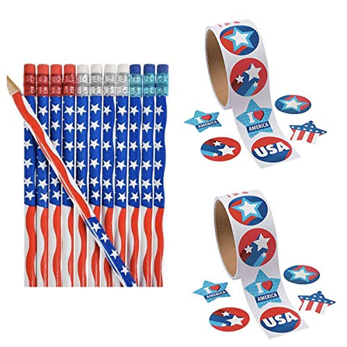 3 Dozen (36) Patriotic USA Flag Pencils & 200 Stickers - America United States Stars & Stripes - School Supplies #2 Lead - 4th of July Party Favors - Parades - Classroom Rewards Teacher