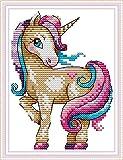 Kits de punto de cruz estampados DIY de 11CT, línea completa de kits de inicio de bordado preimpreso para principiantes - El unicornio mágico 18 x 22 cm
