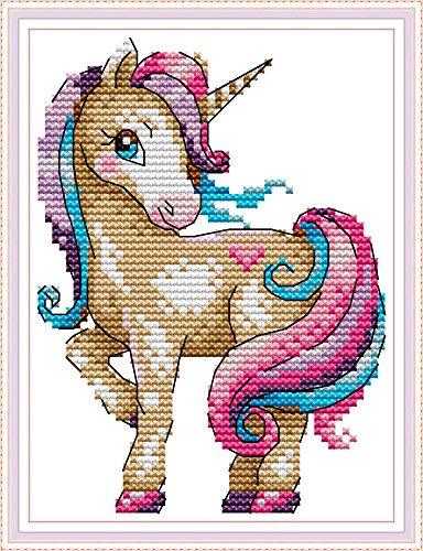 11CT Kit Punto a Croce Timbrato Fai-da-te Ricamo Linea Completa di Kit Iniziali Per Ricamo Prestampato Per Principianti - Il magico unicorno 18 x 22 cm